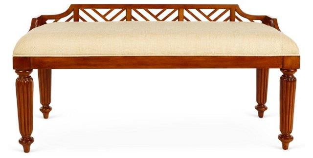 "Plantain 48"" Bench, Umber/Cream"