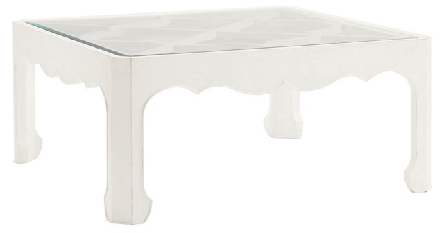 "Cassava 42"" Square Coffee Table, White"