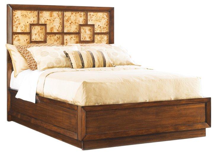 Warm Brown Harlow Panel Bed, Queen
