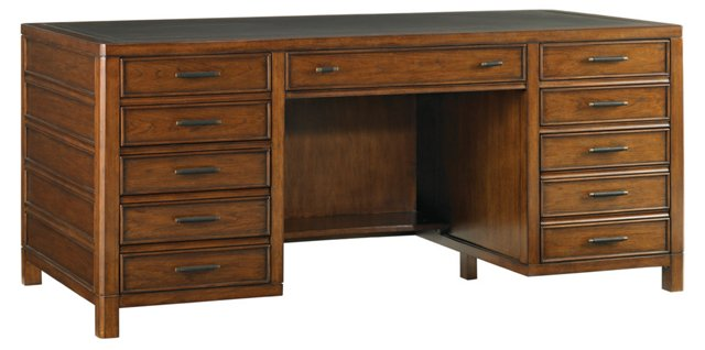 Bal Harbour Leather-Top Desk, Sienna