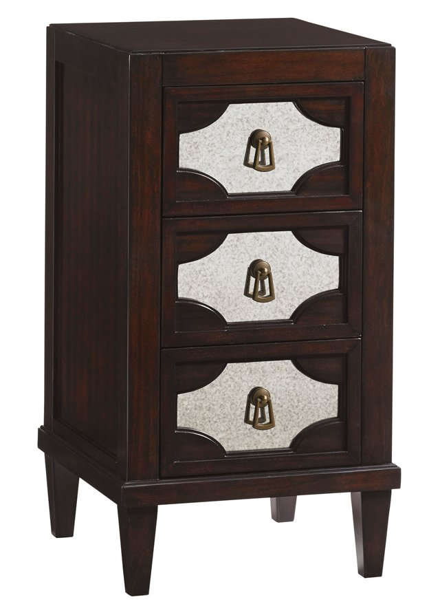 """Lucerne 17"""" Mirrored Nightstand, Brown"""