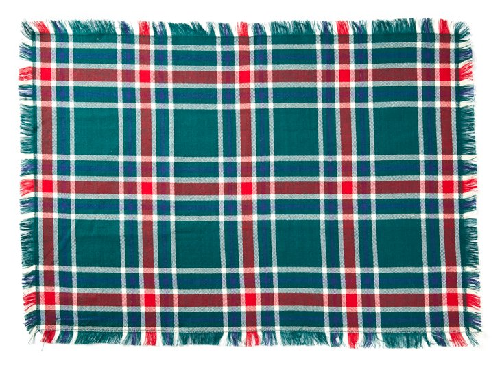 S/4 Fringe Plaid Place Mats, Green/Red