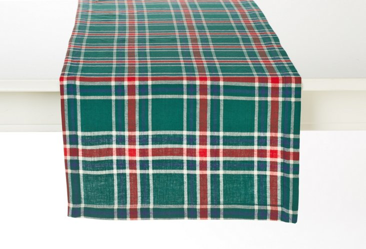 "90"" Plaid Table Runner, Green/Red"