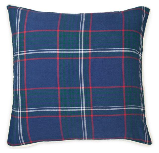 Plaid 20x20 Cotton Pillow, Navy