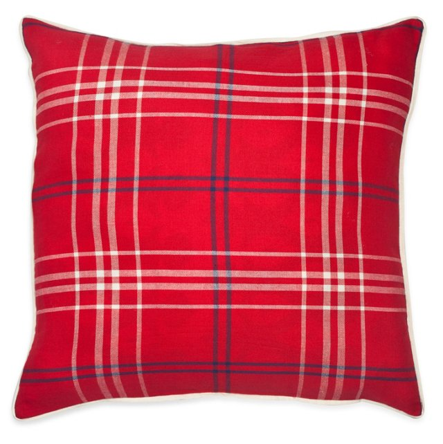 Plaid 20x20 Cotton Pillow, Red