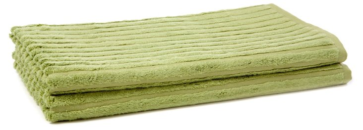 S/2 Bamboo Ribbed Bath Towels, Green