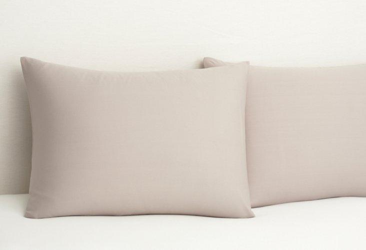 S/2 Bamboo Dreams  Pillowcases, Stone