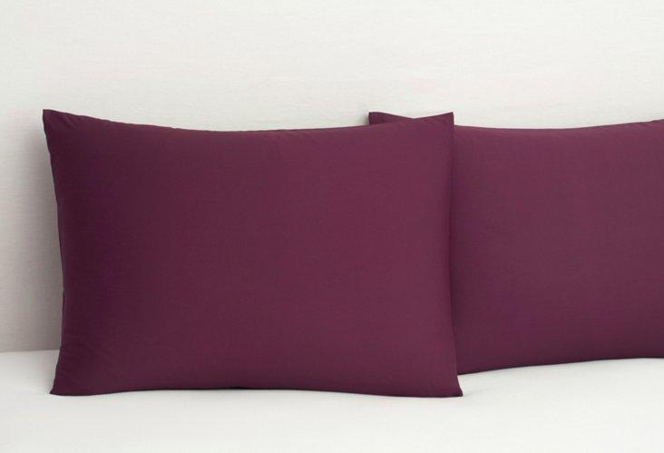 S/2 Bamboo Dreams  Pillowcases, Plum