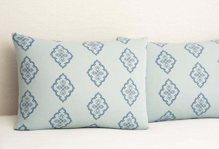 S/2 Midara Pillowcases, Sapphire/Rain