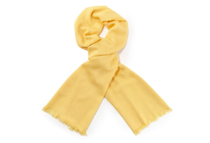 Frayed-Edge PashBus Scarf, Lemon