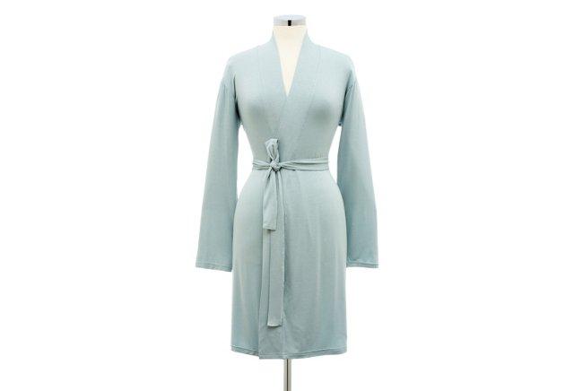 Short Bamboo Robe, Cielo Blue