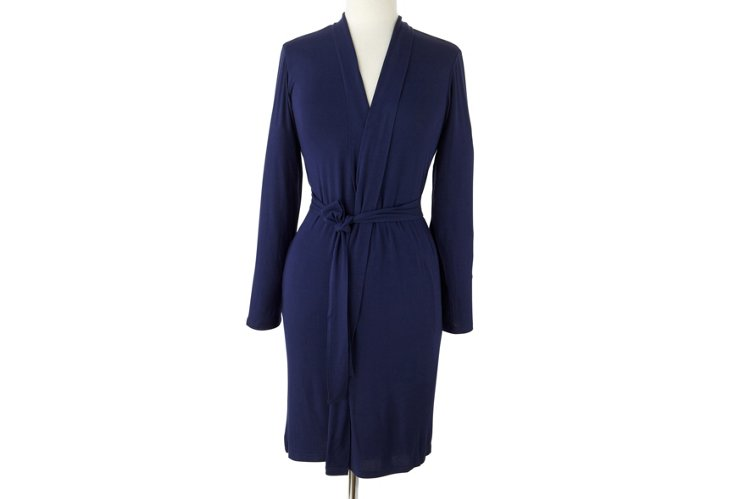 Short Bamboo Robe, Navy
