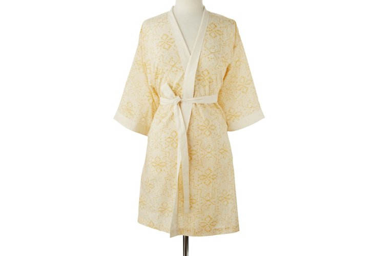 Block Print Mara Robe, Gold