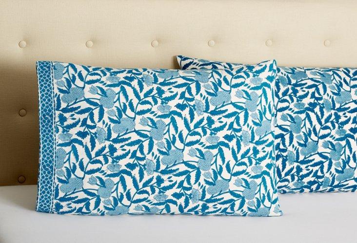 S/2 Cotton Pillowcases, Blue Larkspur