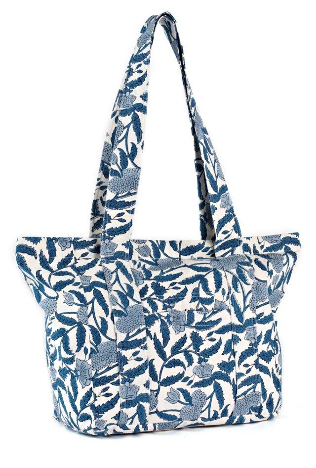 Cotton Canvas Tote Bag, Blue Larkspur