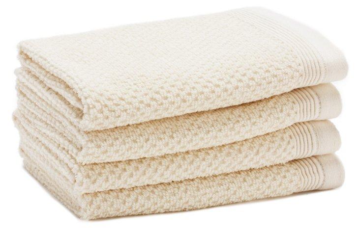 S/4 Organic Cotton Washcloths, Ivory