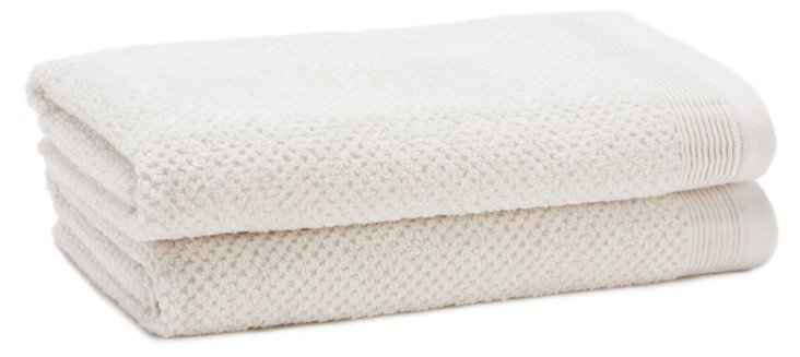 S/2 Organic Cotton Hand Towels, White