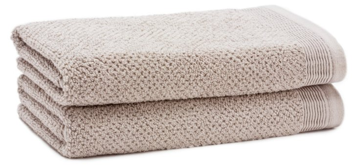 S/2 Organic Cotton Hand Towels, Pebble