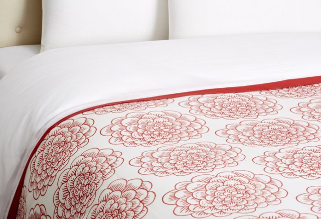 Dahlia Block Print Duvet Cover, Red