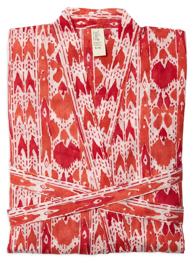 Block Print Mara Robe, Red/Orange Ikat