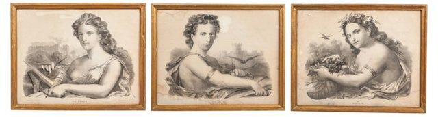 Framed French Prints, Set of 3