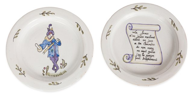 19th-C. French Plates, Pair