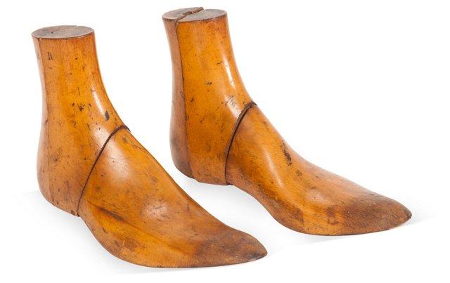 Wooden Shoe Molds, Pair