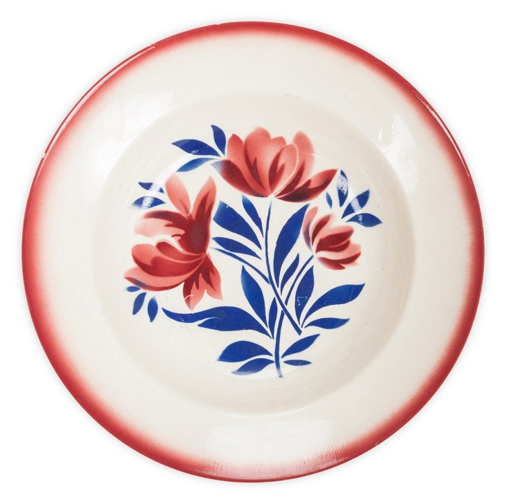 Plate w/ Red & Blue Flowers