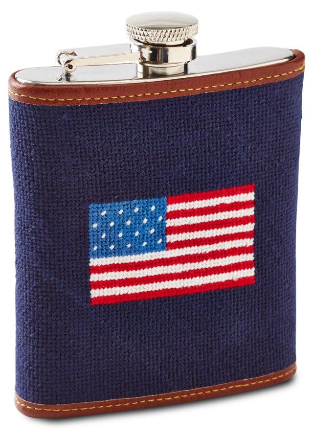 American Flag Needlepoint Flask, Navy