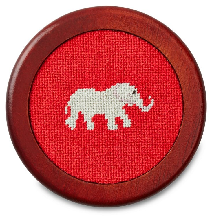 Elephant Wooden Coaster, Red