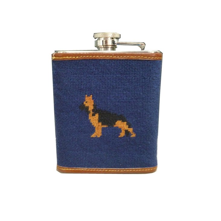 German Shepherd Leather Flask