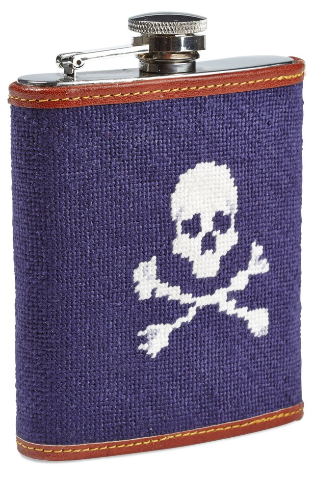 Skull & Bones Needlepoint Flask, Navy