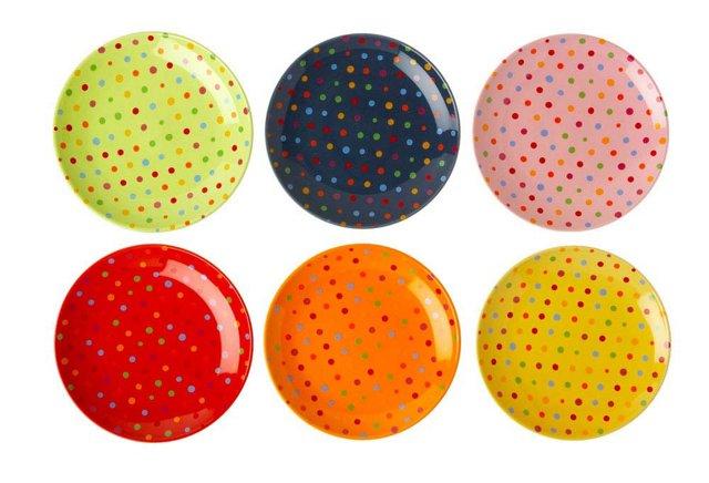 S/6 Asst. Dessert Plates, Polka Dots
