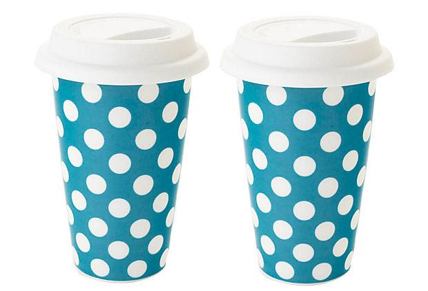 Classic Coffee S/2 Dot Mugs, Turquoise