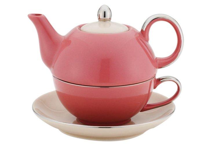 Tea-for-One Teapot Set, Pink/Beige