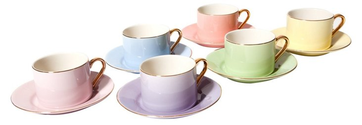 S/6 Assorted Teacups & Saucers, Pastel