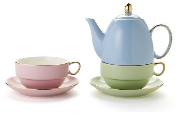 5-Pc Pastel Tea Set