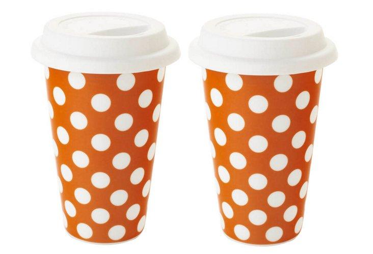 S/2 Large Travel Mugs, Orange