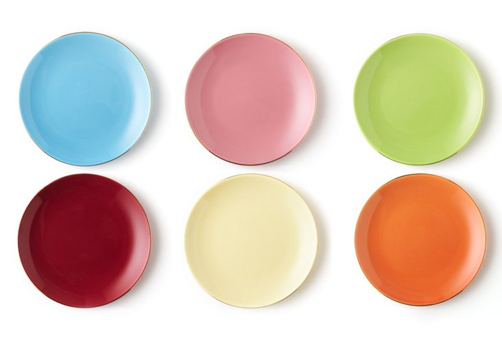 S/6 Assorted Solid Dessert Plates