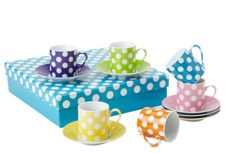 S/6 Assorted Dot Cups & Saucers