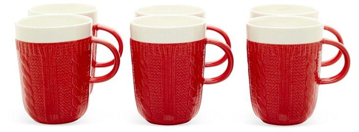 S/6 Sweater Mugs, Red/White
