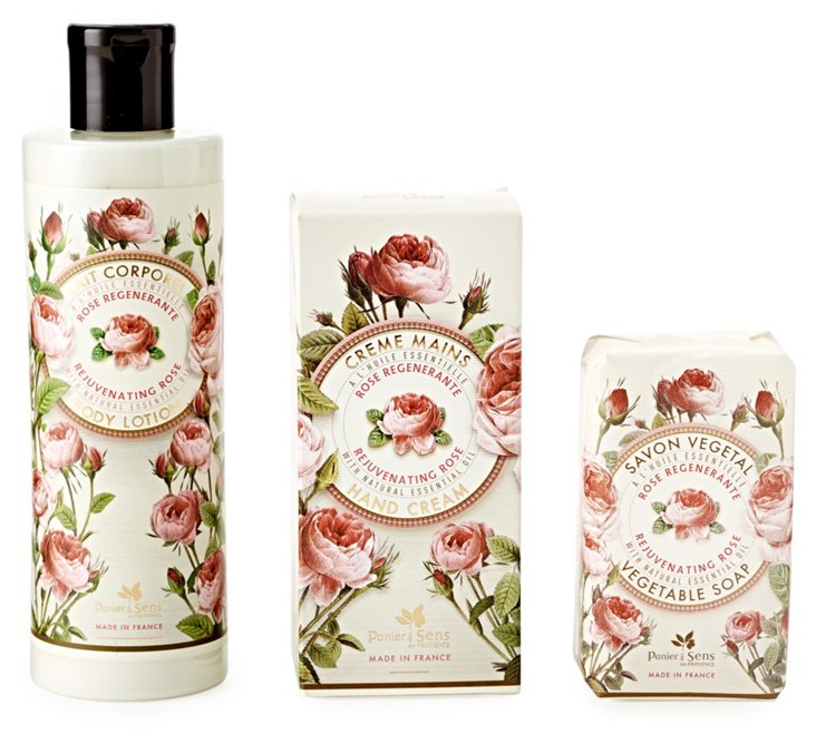S/3 Rose Soap, Hand Cream & Body Lotion