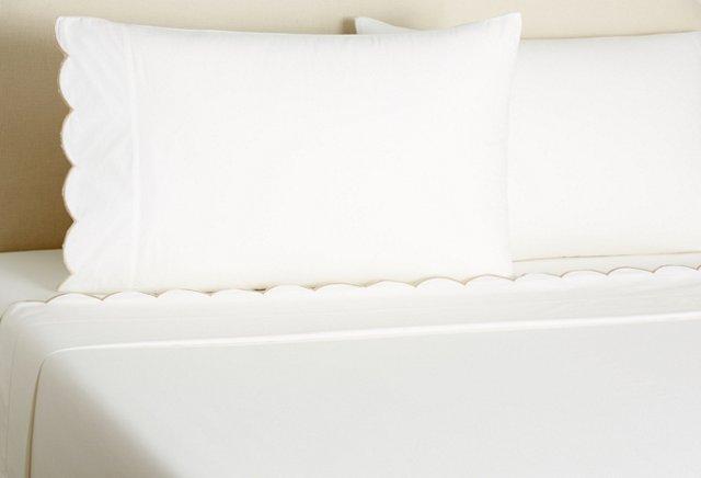 Scallop Embroidered Sheet Set, Khaki