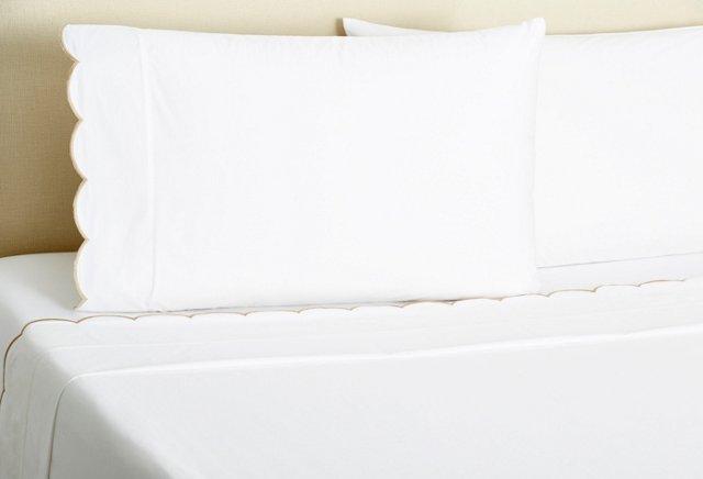 King Scallop Sheet Set, White