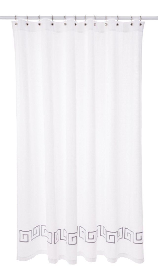 Greek Key Shower Curtain, Gray