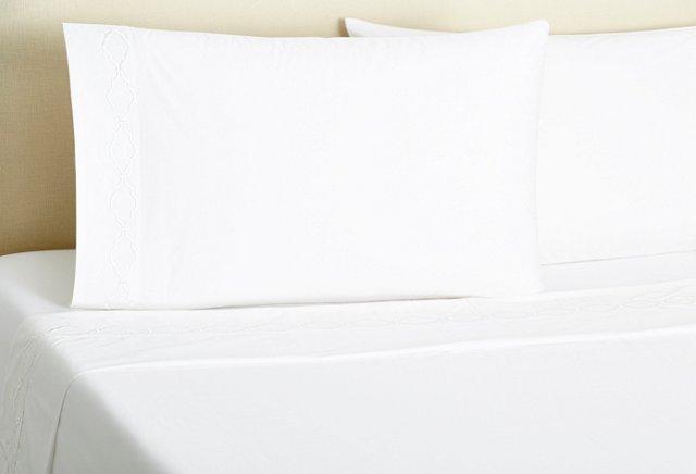 King Trellis Sheet Set, White