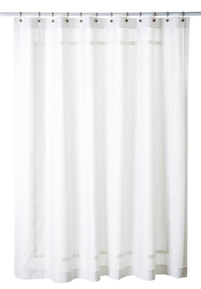 Classic Ribbon Shower Curtain, White