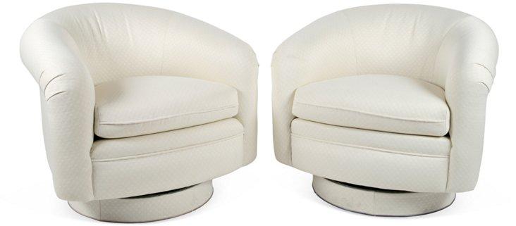 1970s Barrel Swivel Chairs, Pair
