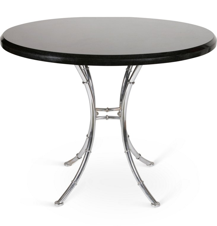 Bamboo-Style Chrome Table, C. 1970