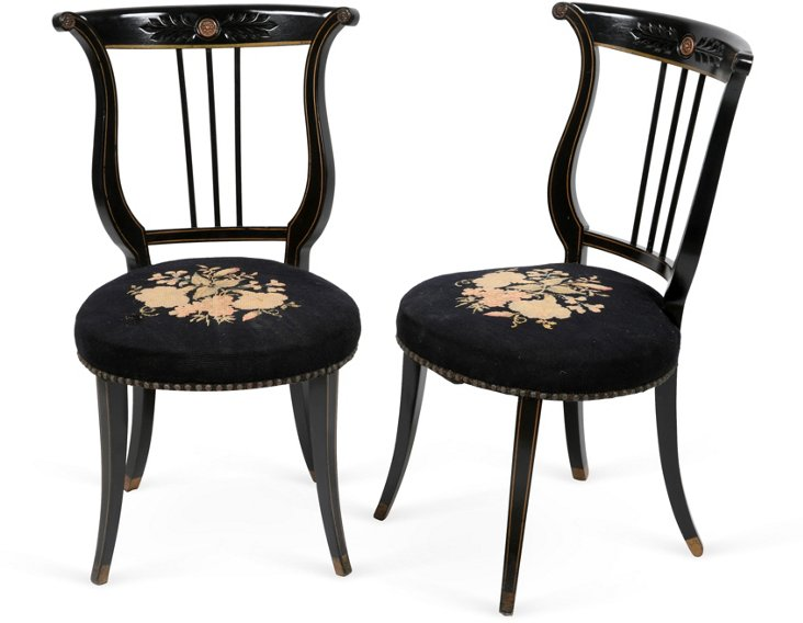 Black Lyre Needlepoint Chairs, Pair